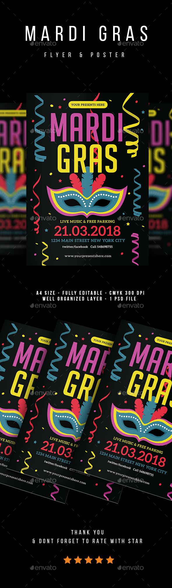 Mardi Gras Flyer vol.3 - Events Flyers