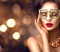Beauty model woman wearing venetian masquerade carnival mask at - PhotoDune Item for Sale