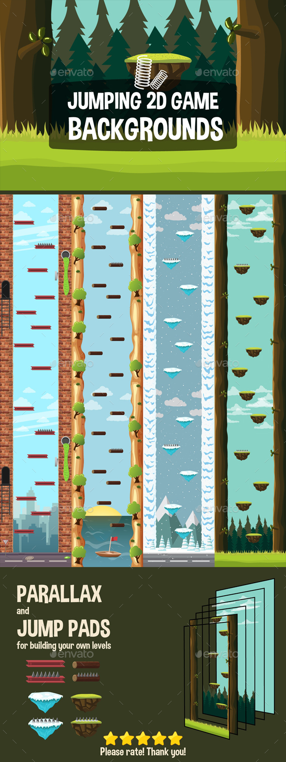 Jump Game Backgrounds - Backgrounds Game Assets