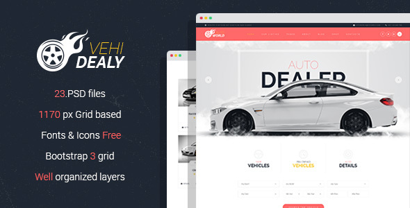 VehiDealy - Car Retail PSD Template