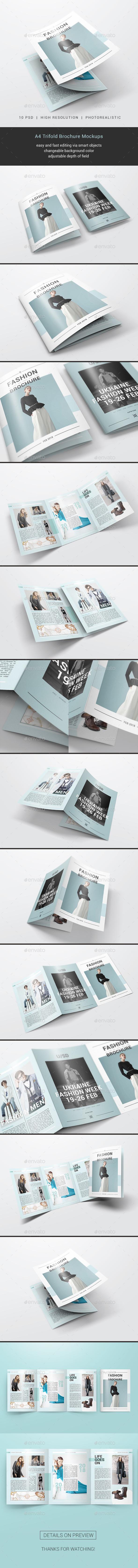 A4 Trifold Brochure Mockups - Brochures Print