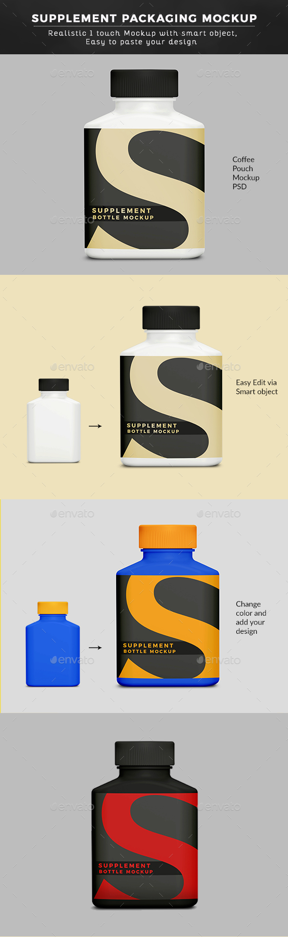 Matt Supplement Packaging Bottle Mock up - Graphics