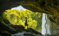 Tourist In Cave At Misol Ha Waterfall - PhotoDune Item for Sale