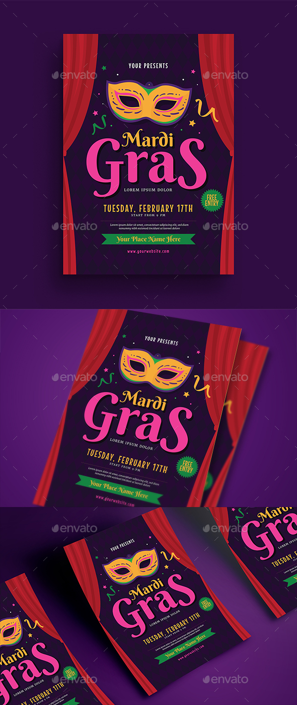 Mardi Gras Event Flyer - Events Flyers