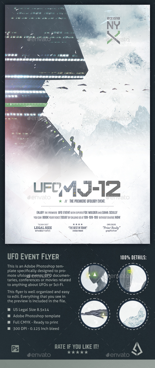 UFO Event Flyer - Ufology Aliens Sci-Fi Poster Template - Events Flyers