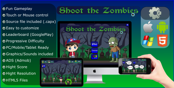 Shoot The Zombies (CAPX - Mobile and HTML5) - CodeCanyon Item for Sale