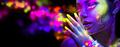 Beauty woman in neon light, portrait of beautiful model with flu - PhotoDune Item for Sale