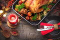 Thanksgiving. Holiday dinner. Served table with roasted turkey - PhotoDune Item for Sale