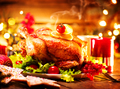Christmas holiday dinner. Served table with roasted turkey - PhotoDune Item for Sale
