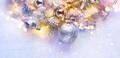 Christmas decoration over white wooden background. Border art de - PhotoDune Item for Sale