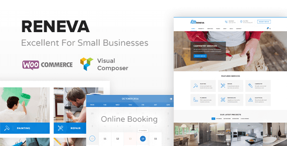 Reneva - WordPress Theme For Small Business + Online Booking - Business Corporate