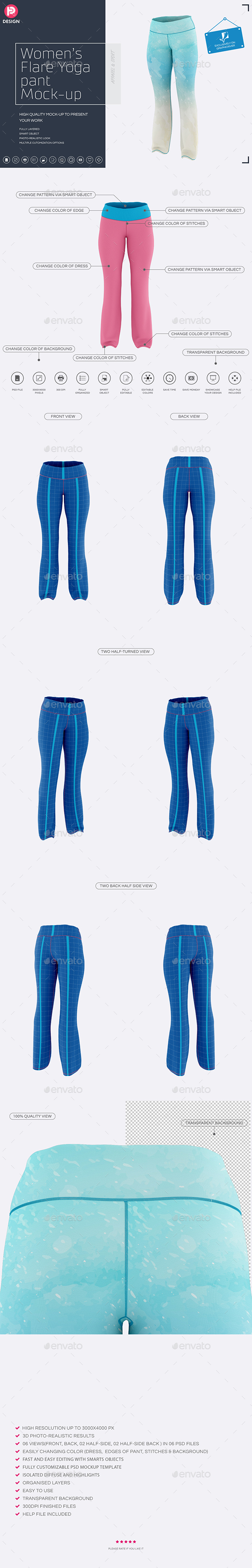 Women's Flare Yoga Pant Mock-up - Miscellaneous Product Mock-Ups