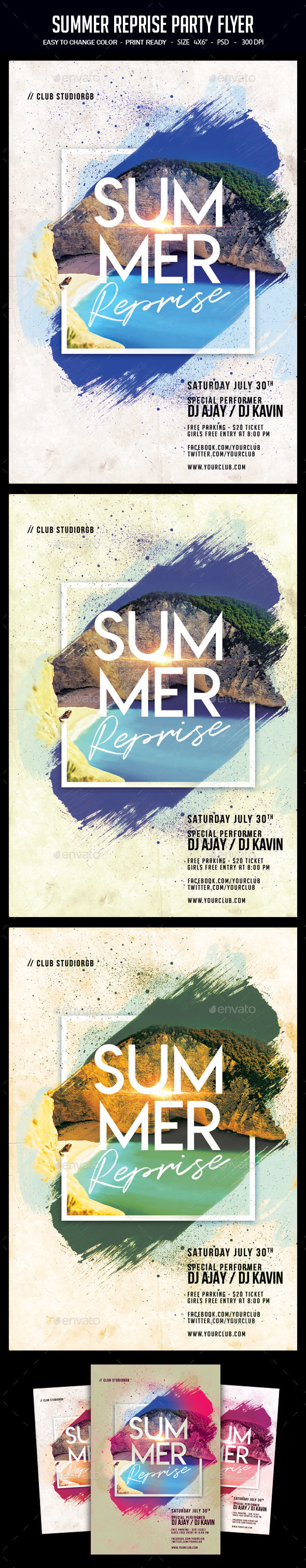 Summer Reprise Party Flyer - Clubs & Parties Events
