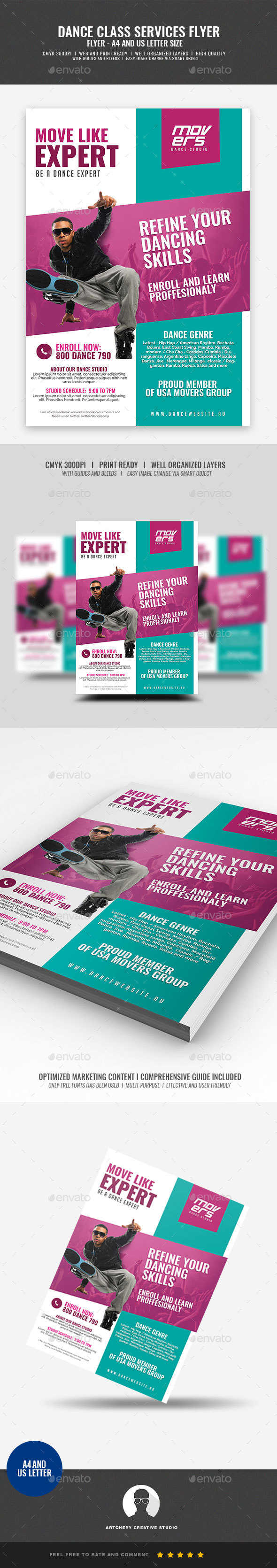 Dance Class and Studio Promotional Flyer - Corporate Flyers