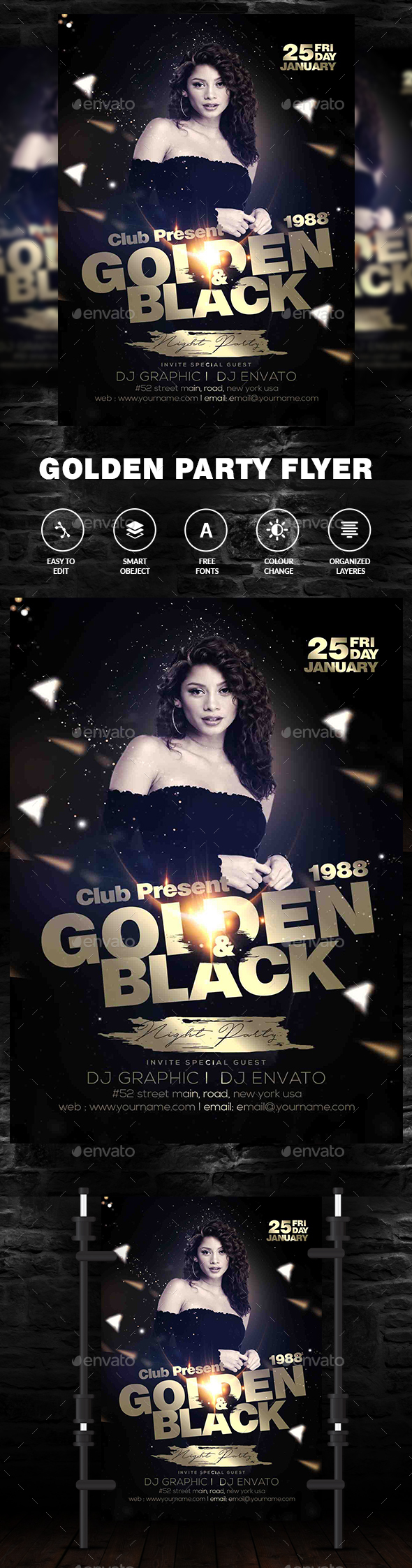 Golden Black Party Flyer - Flyers Print Templates