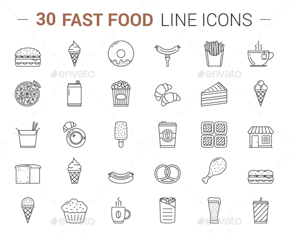 Fast Food Line Icons - Food Objects