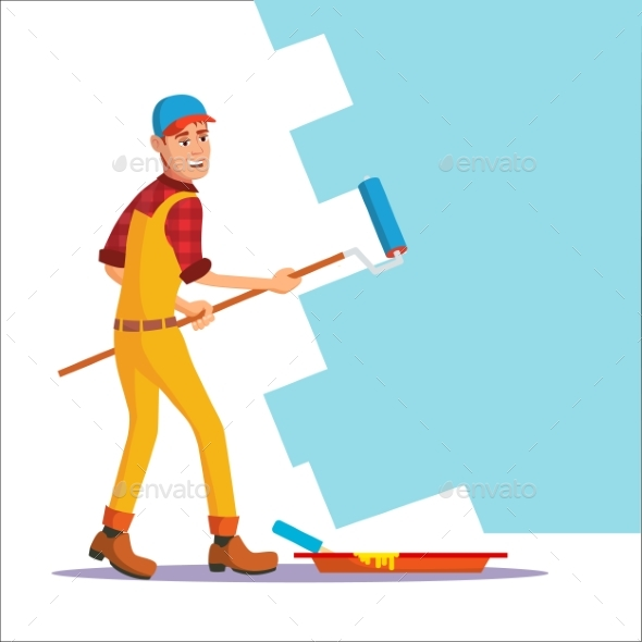 Professional Painter Vector. Painting Brush - People Characters
