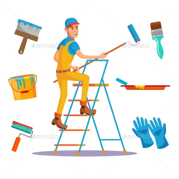 Classic Painter Vector. Painting Wall With Brush - People Characters