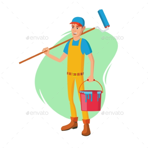 Male House Painter Vector. Classic Paintbrush - People Characters