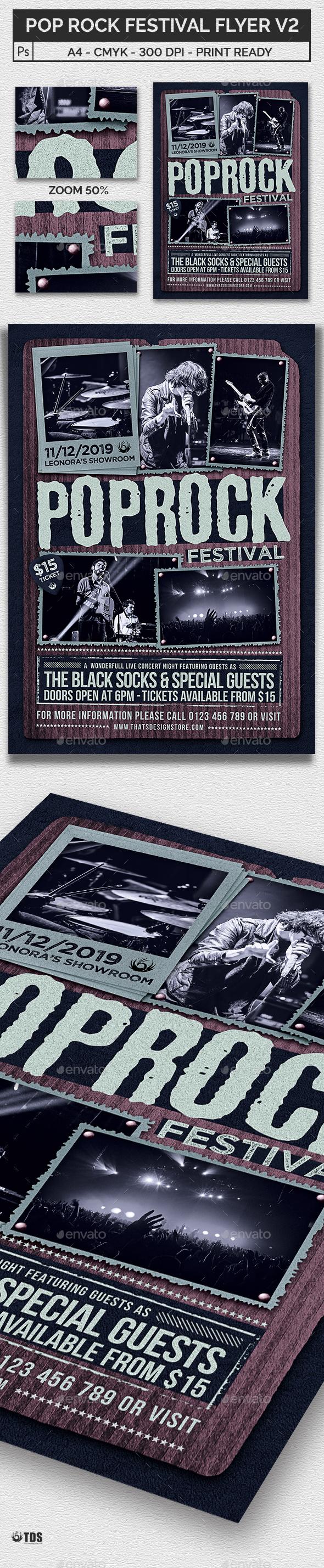 Pop Rock Festival Flyer Template V2 - Concerts Events