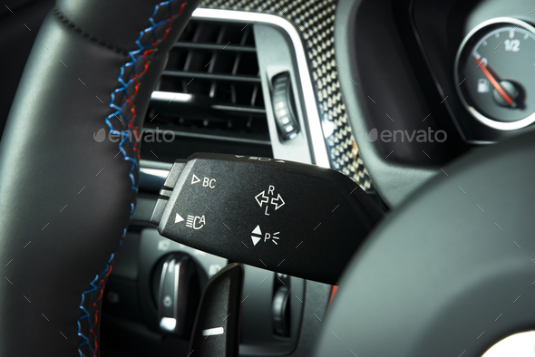 lights switch in car interior - Stock Photo - Images