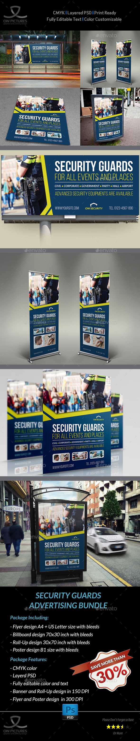 Security Guards Advertising Template - Signage Print Templates
