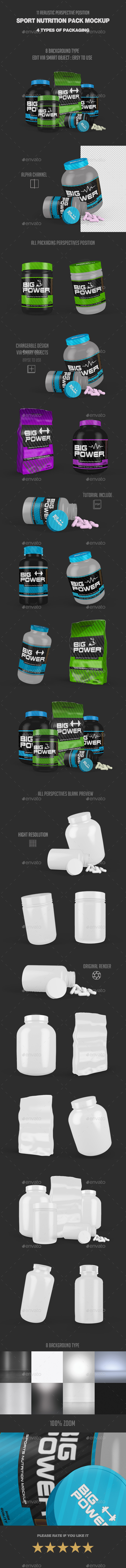 Sport Nutrition Pack Mock Up - Product Mock-Ups Graphics