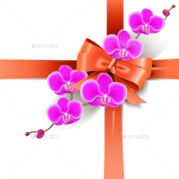 Vector Decorative Bow with Orchids - Seasons/Holidays Conceptual