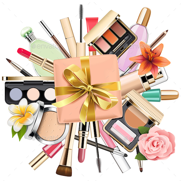 Vector Makeup Cosmetics with Gift - Commercial / Shopping Conceptual