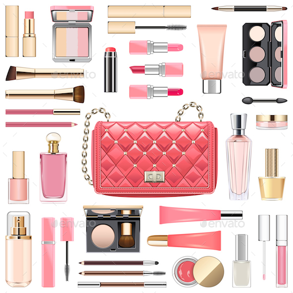 Vector Makeup Cosmetics with Pink Handbag - Commercial / Shopping Conceptual