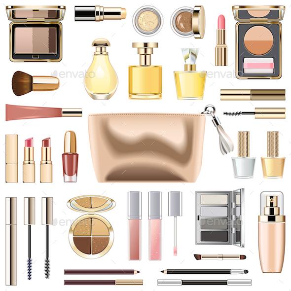 Vector Makeup Cosmetics with Golden Cosmetic Bag - Commercial / Shopping Conceptual