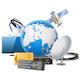 Vector Globe with Satellite Equipment