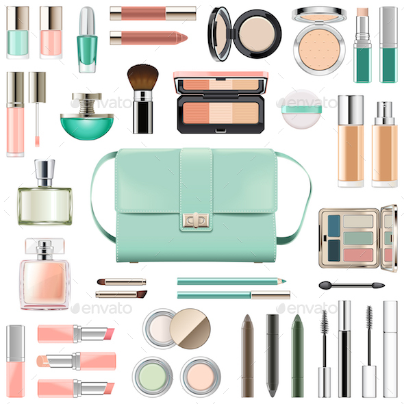Vector Makeup Cosmetics with Mint Green Handbag - Retail Commercial / Shopping