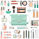 Vector Makeup Cosmetics with Mint Green Handbag