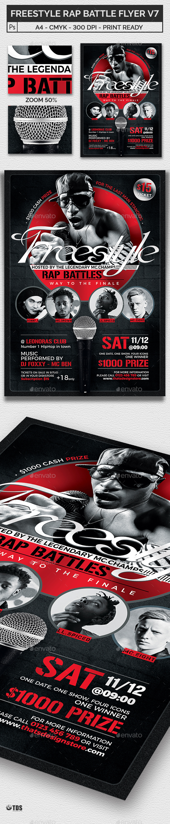 Freestyle Rap Battle Flyer Template V7 - Clubs & Parties Events
