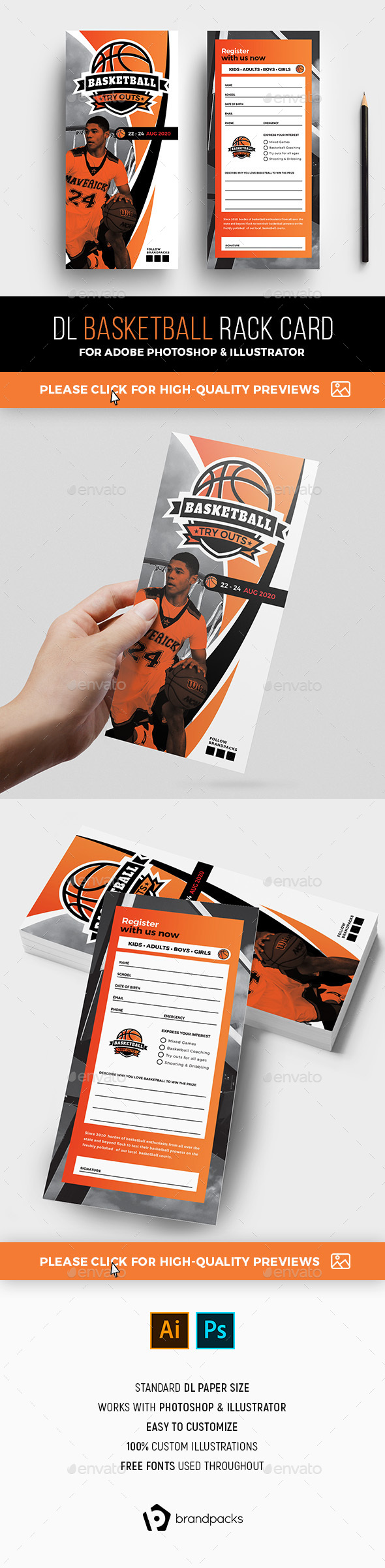 Basketball Rack Card Template - Sports Events