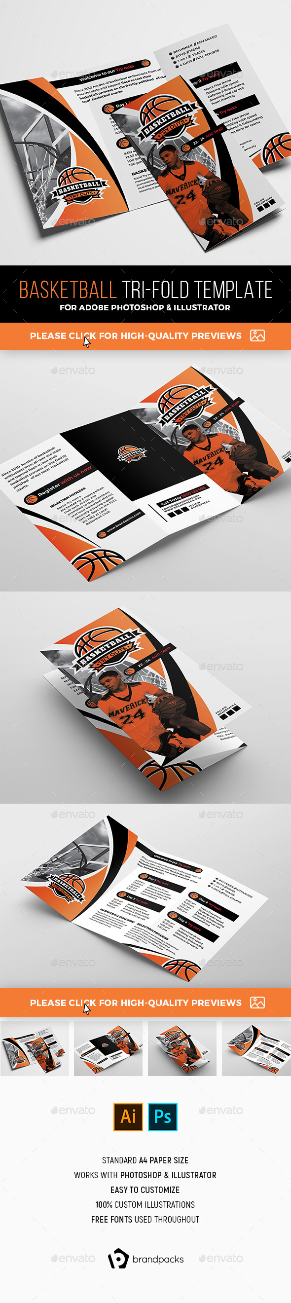 Basketball Tri-Fold Brochure Template - Sports Events