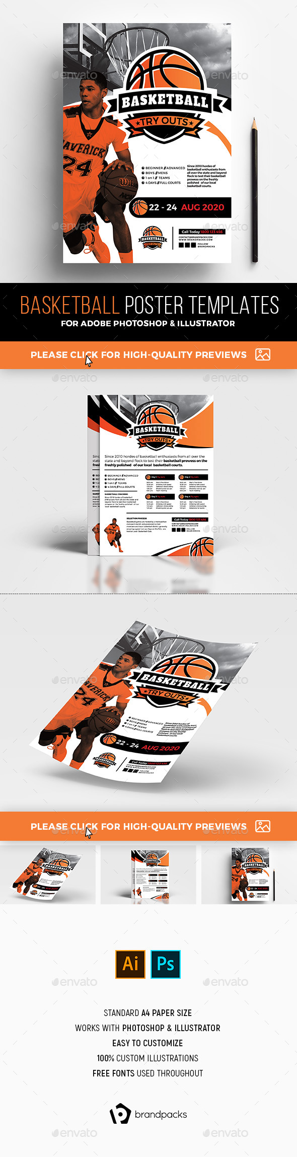 A4 Basketball Poster Templates - Sports Events