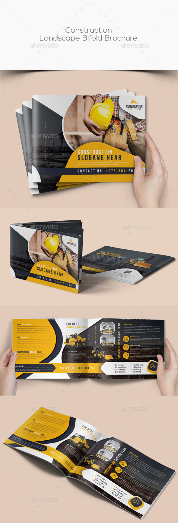 Construction Landscape Bifold Brochure - Corporate Brochures