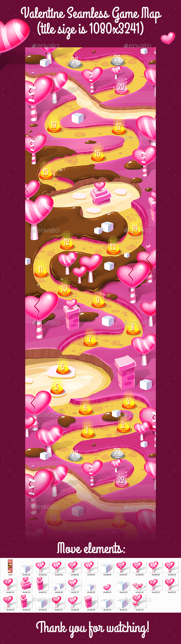 Valentine Vertical Seamless Game Map - Miscellaneous Game Assets