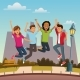 Friends Jumping in the City - GraphicRiver Item for Sale
