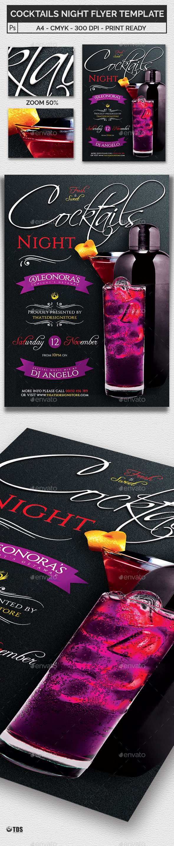 Cocktails Night Flyer Template - Clubs & Parties Events