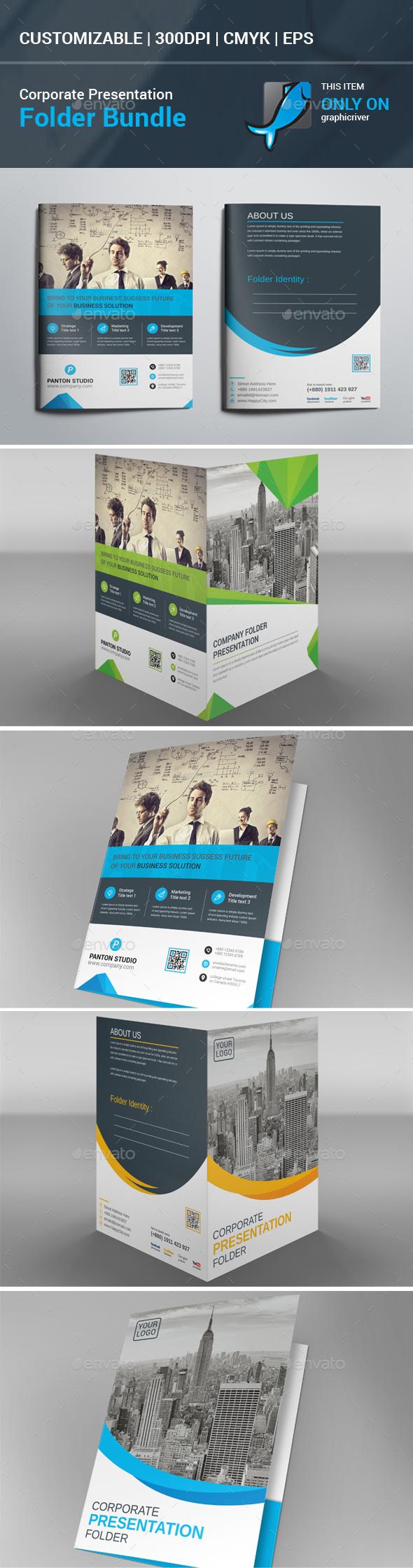 Corporate Presentation Folder Bundle - Stationery Print Templates