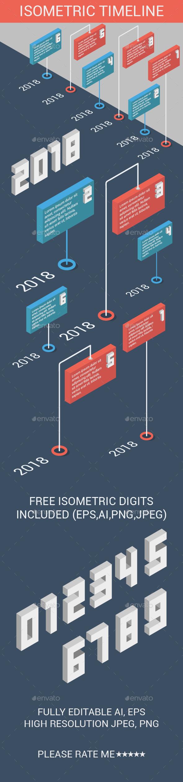 Isometric Timeline - Infographics