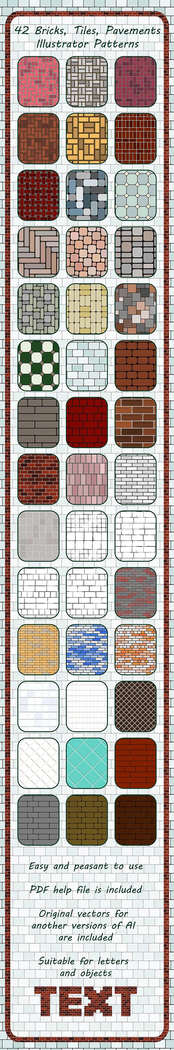 42 Bricks, Tiles, Pavements Seamless Adobe Illustrator Patterns - Miscellaneous Textures / Fills / Patterns