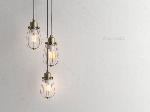 Three vintage lamps hanging from the ceiling with wall 3D renderind - Stock Photo - Images
