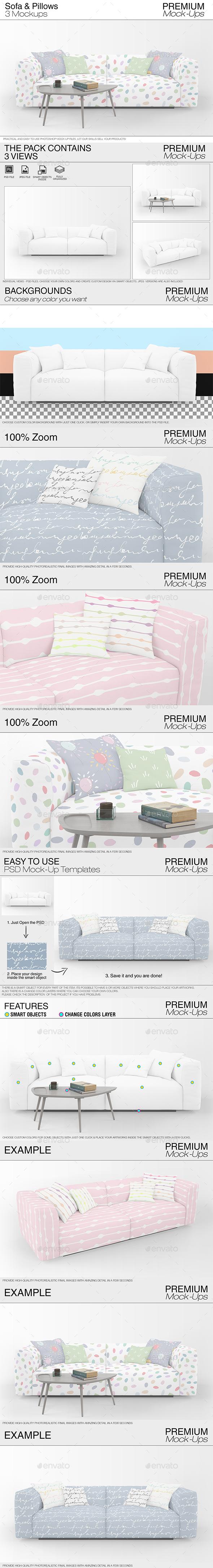 Sofa & Pillows Mockup Pack - Print Product Mock-Ups