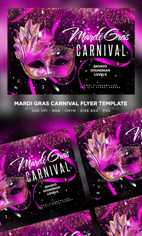 Mardi Gras Flyer - Clubs & Parties Events