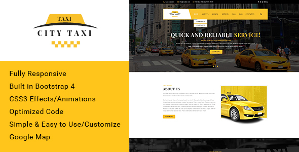 Image of Citytaxi - Bootstrap 4 HTML Template for Taxi