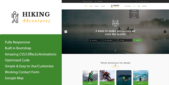 Hiking Adventures - Outdoors & Hiking HTML Template